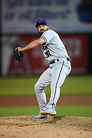 Lancaster JetHawks relief pitcher Reid Humphreys (37) delivers a pitch during a California League game against the Inland Empire 66ers at San Manuel Stadium on May 18, 2018 in San Bernardino, California. Lancaster defeated Inland Empire 5-3. (Zachary Lucy/Four Seam Images)