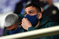 Gianluigi Donnarumma of Italy, wearing a mask, attends from the tribune the friendly football match between Italy and Estonia at Artemio Franchi Stadium in Firenze (Italy), November, 11th 2020. Photo Andrea Staccioli/ Insidefoto