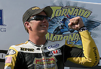 AMA Sportbike racer Danny Eslick celebrates his win in Saturday's Daytona Sportbike race during the Tornado Nationals at Heartland Park Topeka, in Topeka, Kansas,August 1, 2009. (Photo by Brian Cleary/www.bcpix.com)