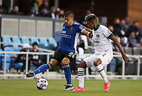 SAN JOSE, CA - MAY 15: Luciano Abecasis #2 of the San Jose Earthquakes moves with the ball during a game between Portland Timbers and San Jose Earthquakes at PayPal Park on May 15, 2021 in San Jose, California.