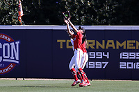 GREENSBORO, NC - FEBRUARY 22: Sam Merino #19 of Fairfield University catches a fly ball during a game between Fairfield and North Carolina at UNCG Softball Stadium on February 22, 2020 in Greensboro, North Carolina.