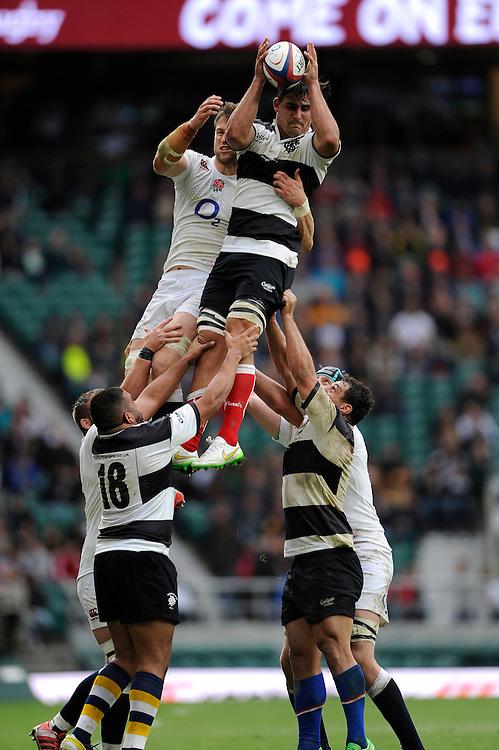 Pablo Matera of Barbarians outjumps Jon Fisher of England in the lineout during the match between England and Barbarians at Twickenham Stadium on Sunday 31st May 2015 (Photo by Rob Munro)