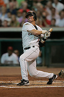 Houston Astros second baseman Craig Biggio (7) follows through on his swing during the Major League Baseball game against the Pittsburgh Pirates on August 13, 2005 at Minute Maid Park in Houston, Texas. The Pirates defeated the Astros 1-0. (Andrew Woolley/Four Seam Images)