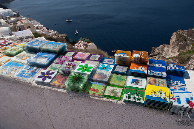 Tiles being sold as souvenirs at the top of the Caldera in Oia, Santorini