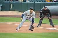 Jesus Montero (20) of the Tacoma Rainiers on defense against the Salt Lake Bees in Pacific Coast League action at Smith's Ballpark on May 7, 2015 in Salt Lake City, Utah.  (Stephen Smith/Four Seam Images)