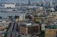 LEBANON, Beirut, port and container terminal of Beirut, to the left Silo which exploded in august 2020 / LIBANON, Beirut, Hafen und Container Terminal am Mittelmeer, rechts Silo der im August 2020 durch einen Explosion zerstört wurde