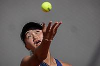 30th May 2021; Roland Garros, Paris, France; French Open Tennis championships, day 1;  Wang Xiyu serves during during womens singles first round match against Danielle Collins of the United States