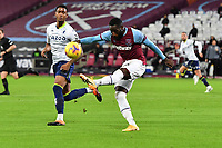 Arthur Masuaku of West Ham United clears the ball during West Ham United vs Aston Villa, Premier League Football at The London Stadium on 30th November 2020