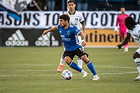 SAN JOSE, CA - MAY 15: Eric Remedi #5 of the San Jose Earthquakes dribbles the ball during a game between San Jose Earthquakes and Portland Timbers at PayPal Park on May 15, 2021 in San Jose, California.