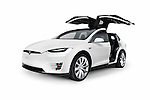 White 2017 Tesla Model X luxury SUV electric car with open falcon wing doors isolated on white background Image © MaximImages, License at https://www.maximimages.com