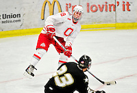 2 January 2011: Ohio State University Buckeye forward Danny Dries, a Junior from  Lake Orion, MI, in action against the Army Black Knights at Gutterson Fieldhouse in Burlington, Vermont. The Buckeyes defeated the Black Knights 5-3 to win the 2010-2011 Catamount Cup. Mandatory Credit: Ed Wolfstein Photo
