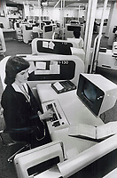 1978 FILE PHOTO - ARCHIVES -<br /> <br /> Bell Canada operators in Ontario and Quebec finish voting today on whether to strike. Money is an issue; so are work rules under which operators have to ask for permission to go to the bathroom. They say computerized system adds to work pressure; they're allowed 26 seconds to handle each call.<br /> <br /> PHOTO : Ron BULL - Toronto Star Archives - AQP