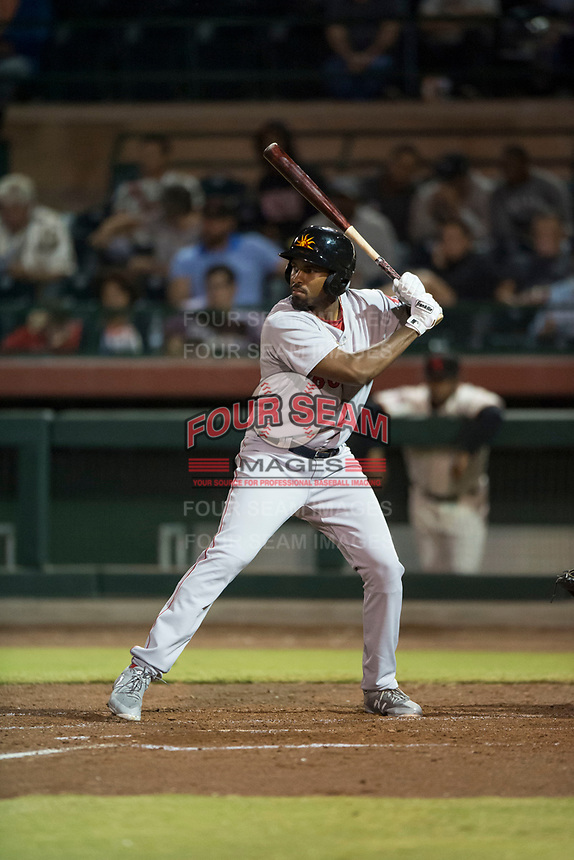 Mesa Solar Sox designated hitter Josh Ockimey (28), of the Boston Red Sox organization, at bat during an Arizona Fall League game against the Scottsdale Scorpions on October 9, 2018 at Scottsdale Stadium in Scottsdale, Arizona. The Solar Sox defeated the Scorpions 4-3. (Zachary Lucy/Four Seam Images)