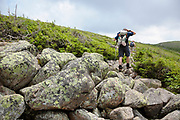 Hikers travel along the Bondcliff Trail during the summer months. Located in the White Mountains of New Hampshire.