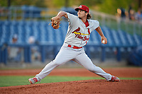 Palm Beach Cardinals starting pitcher Austin Warner (18) delivers a pitch during a game against the Charlotte Stone Crabs on April 20, 2018 at Charlotte Sports Park in Port Charlotte, Florida.  Charlotte defeated Palm Beach 4-3.  (Mike Janes/Four Seam Images)