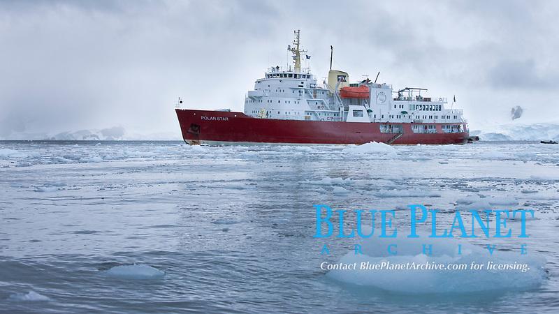 Icebreaker M/V Polar Star, anchored amid pack ice in Cierva Cove.