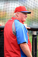 Philadelphia Phillies manager Charlie Manuel #41 before a Spring Training game against the Boston Red Sox at Bright House Field on March 24, 2013 in Clearwater, Florida.  Boston defeated Philadelphia 7-6.  (Mike Janes/Four Seam Images)
