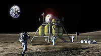 In this undated artist's concept drawing provided by John Frassanito and Associates NASA's new Crew Exploration Vehicle and lander are shown on the moon. NASA may be going to the same old moon but the space agency said Monday, Dec. 4, 2006 that it's going to do something dramatically different this time: Stay there. To get to the moon, NASA will use two vehicles _ the Orion exploration vehicle and an attached all-purpose lunar lander (shown) that could touch down anywhere and be the beginnings a base camp, said exploration chief Scott Horowitz. (AP Photo/John Frassanito and Associates, NASA)