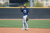Milwaukee Brewers second baseman Daniel Castillo (65) during an Instructional League game against the San Diego Padres at Peoria Sports Complex on September 21, 2018 in Peoria, Arizona. (Zachary Lucy/Four Seam Images)