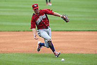 Lehigh Valley IronPigs second baseman Kevin Frandsen #3 fields a ground ball on an infield single during a game against the Buffalo Bisons at Coca-Cola Field on April 19, 2012 in Buffalo, New York.  Lehigh Valley defeated Buffalo 8-4.  (Mike Janes/Four Seam Images)