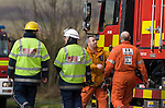 Emergency services and search and rescue teams at the scene of the Mid air collision over Kenfig sand dunes near Porthcawl..