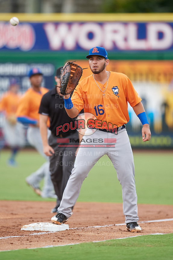 St. Lucie Mets first baseman Jeremy Vasquez (16) waits to receive a throw during a game against the Clearwater Threshers on August 11, 2018 at Spectrum Field in Clearwater, Florida.  St. Lucie defeated Clearwater 11-0.  (Mike Janes/Four Seam Images)