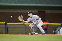 Staten Island Yankees first baseman Dalton Blaser (22) waits for a throw during a game against the Batavia Muckdogs on August 27, 2016 at Dwyer Stadium in Batavia, New York.  Staten Island defeated Batavia 13-10 in eleven innings.  (Mike Janes/Four Seam Images)