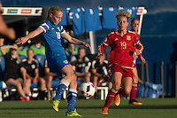 Finland's Linda Sallstrom and Spain's Amanda Sampedro during the match of  European Women's Championship 2017 at Leganes, between Spain and Finland. September 20, 2016. (ALTERPHOTOS/Rodrigo Jimenez) NORTEPHOTO
