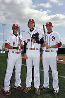 St.John's Red Storm infielder Joe Panik (2) pitcher Kyle Hansen (39), and outfielder Jeremy Baltz (18) before the first game of a doubleheader against Notre Dame Fighting Irish at Jack Kaiser Stadium in Queens, New York;  April 21, 2011.  St. John's defeated Notre Dame 6-0.  Photo By Tomasso DeRosa/Four Seam Images