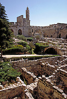 View of the ruins of the Citadel in Jerusalem, Israel. It is part of the old city walls and was the guard station for the palace of King Herod the Great. Jerusalem, Israel.