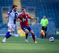 24th April 2021; Ewood Park, Blackburn, Lancashire, England; English Football League Championship Football, Blackburn Rovers versus Huddersfield Town;  Harry Toffolo of Huddersfield Town under pressure from  Ben Brereton of Blackburn Rovers