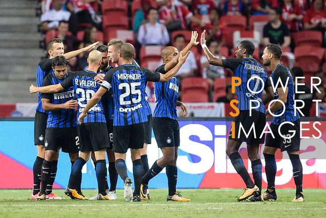 FC Internazionale squad celebrating a score during the International Champions Cup match between FC Bayern and FC Internazionale at National Stadium on July 27, 2017 in Singapore. Photo by Weixiang Lim / Power Sport Images