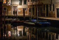 Venice, Italy.  Stroll through the streets at night on November 23, 2014