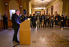 "January 19, 2020; Notre Dame President Rev. John I. Jenkins, C.S.C. delivers the concluding prayer at the candlelight prayer service in observation of Martin Luther King Jr. Day in the Main Building. The event also marked the beginning of ""Walk the Walk"" week, a series of events and observances to celebrate and reflect on diversity and inclusiveness.  (Photo by Barbara Johnston/University of Note Dame)"