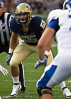 Pitt linebacker Max Gruder. The Pittsburgh Panthers beat the Buffalo Bulls 35-16 at Heinz field in Pittsburgh, Pennsylvania on September 3, 2011