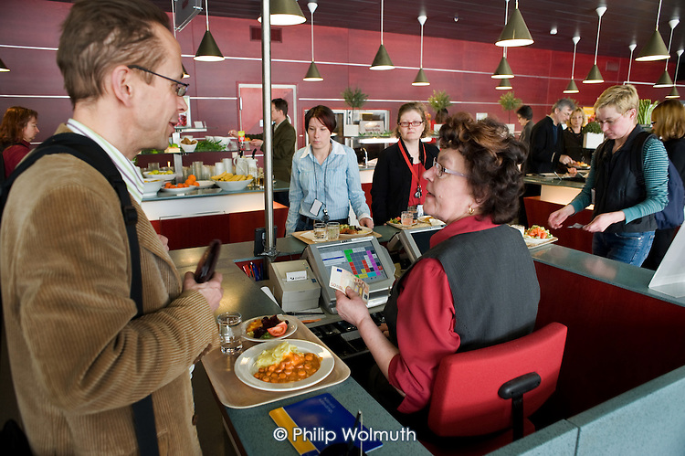 Canteen in a municipal building in Helsinki run by Palmia, a municipal enterprise, which also provides school meals, meals on wheels, cleaning, and security services across the Finnish capital.