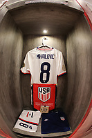 GUADALAJARA, MEXICO - MARCH 24: The locker for Djordje Mihailovic #8 of the United States before a game between Mexico and USMNT U-23 at Estadio Jalisco on March 24, 2021 in Guadalajara, Mexico.