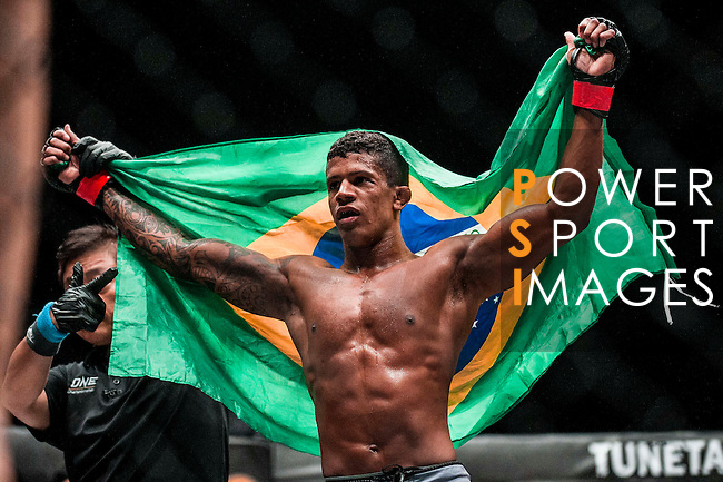 Adriano Moraes of Brazil celebrates after winning Tilek Batyrov of Kyrgyzstan on 13 August 2016 at The Venetian Macao Cotai Arena in Macau, China. Photo by Marcio Machado / Power Sport Images