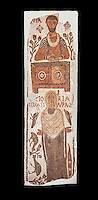 The Christian Eastern Roman Byzantine memorial funerary mosaic of a father and daughter, the father is sitting at a bankers desk. Thabarca, Tabarks, 5th Century AD, Bardo Museum, Tunis. Black background