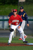 Auburn Doubledays first baseman Matthew Page (15) waits for a throw during a game against the State College Spikes on July 6, 2015 at Falcon Park in Auburn, New York.  State College defeated Auburn 9-7.  (Mike Janes/Four Seam Images)