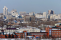 Barnaul, Altai Region, Siberia, Russia, 24/02/2011..Panorama of Barnaul city centre.
