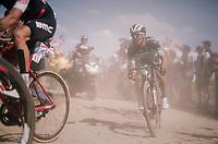 Rafał Majka (POL/BORA-hansgrohe) eating dust on pavé sector #2<br /> <br /> Stage 9: Arras Citadelle > Roubaix (154km)<br /> <br /> 105th Tour de France 2018<br /> ©kramon