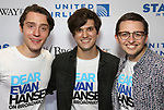 Michael Lee Brown, Alex Boniello and Will Roland attends the United Airlines Presents: #StarsInTheAlley Produced By The Broadway League on June 1, 2018 in New York City.