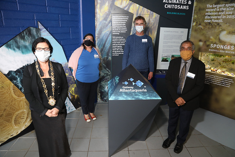 Pictured l-r: Mayor of Galway City, Colette Connolly with Dr Noírín Burke of Galway Atlantaquaria, Filmmaker Ken O'Sullivan and Professor Abhay Pandit, Scientific Director of CÚRAM, NUI Galway