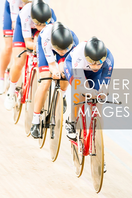 The team of Great Britain with Elinor Barker, Eleanor Dickinson, Manon Lloyd and Emily Nelson competes in the Women's Team Pursuit - 1st Round as part of the 2017 UCI Track Cycling World Championships on 13 April 2017, in Hong Kong Velodrome, Hong Kong, China. Photo by Marcio Rodrigo Machado / Power Sport Images