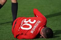 Norman Theuerkauf (1. FC Heidenheim) verletzt - 29.02.2020: SV Darmstadt 98 vs. 1. FC Heidenheim, Stadion am Boellenfalltor, 24. Spieltag 2. Bundesliga<br /> <br /> DISCLAIMER: <br /> DFL regulations prohibit any use of photographs as image sequences and/or quasi-video.
