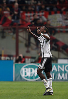 Calcio, Serie A: Milan vs Juventus. Milano, stadio San Siro, 9 aprile 2016. <br /> Juventus' Paul Pogba celebrates after scoring the winning goal during the Italian Serie A football match between AC Milan and Juventus at Milan's San Siro stadium, 9 April 2016. Juventus won 2-1.<br /> UPDATE IMAGES PRESS/Isabella Bonotto