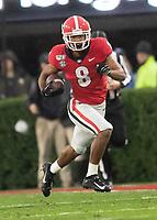 ATHENS, GA - OCTOBER 19: Dominick Blaylock #8 of the Georgia Bulldogs returns a kick during a game between University of Kentucky Wildcats and University of Georgia Bulldogs at Sanford Stadium on October 19, 2019 in Athens, Georgia.