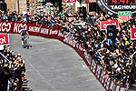 Julian Alaphilippe (FRA) Deceuninck-Quick Step enters Piazza Del Campo in Siena to win the Strade Bianche 2019 running 184km from Siena to Siena, held over the white gravel roads of Tuscany, Italy. 9th March 2019.<br /> Picture: LaPresse/Gian Matteo D'Alberto   Cyclefile<br /> <br /> <br /> All photos usage must carry mandatory copyright credit (© Cyclefile   LaPresse/Gian Matteo D'Alberto)