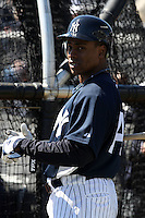 February 25, 2010:  Outfielder Curtis Granderson of the New York Yankees during practice at Legends Field in Tampa, FL.  Photo By Mike Janes/Four Seam Images